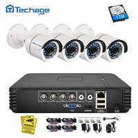 Techage 4CH 1080N AHD Kit DVR 720P CCTV Sistema di 1MP Visione Notturna di IR Telecamera Esterna Coperta Video di Sorveglianza di Sicurezza set 1TB HDD