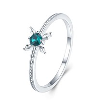 S925 sterling silver small ring Green crystal flower jewellery Stylish romantic personality Christmas ring 925 ring s925 pure silver vintage ring men s personality gold wings patron saint silver ring
