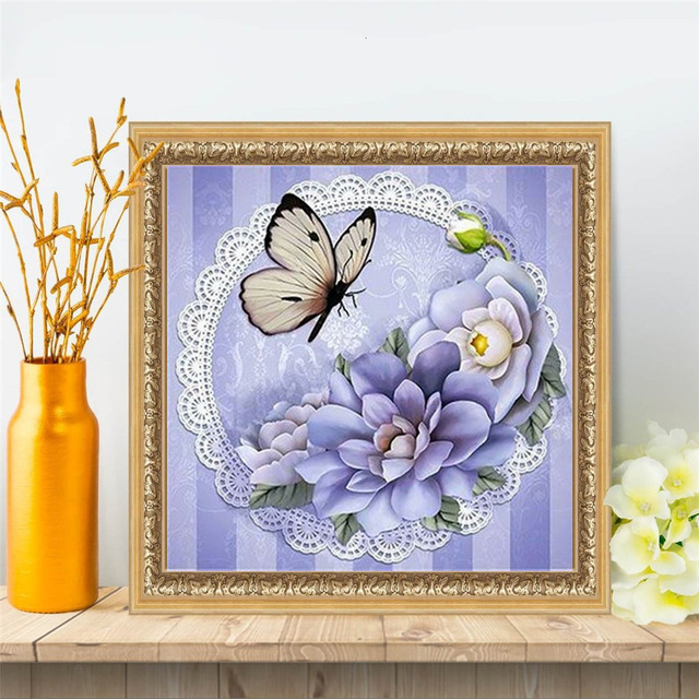 HUACAN 5D DIY Diamond Painting Full Square Drill Butterfly Diamond Embroidery Animals Picture Of Rhinestone Mosaic