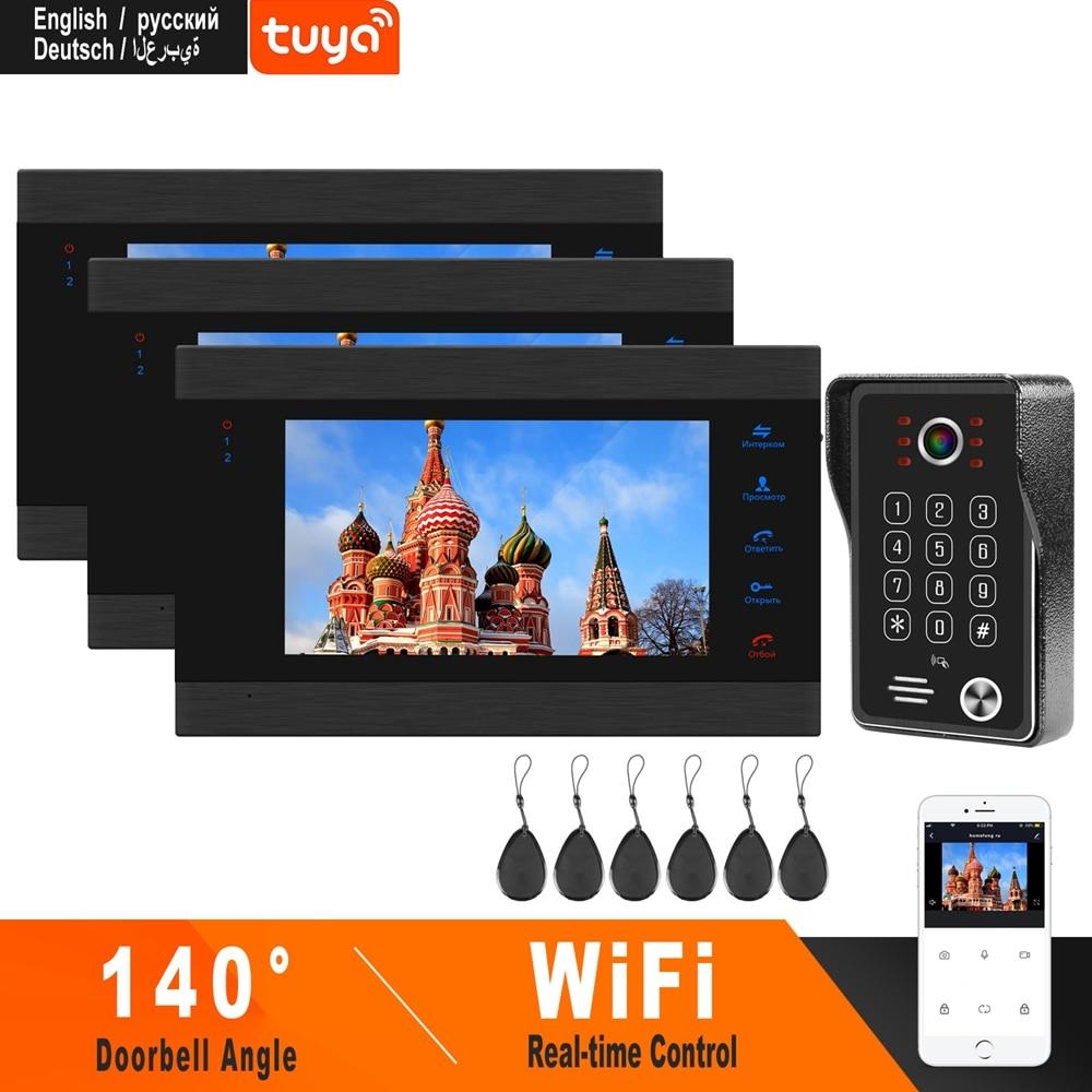 HomeFong WiFi Video Intercom System 3 Monitors 1 Doorbell Camera HD 960P Smart Phone APP Control Home Security  Video Door Phone