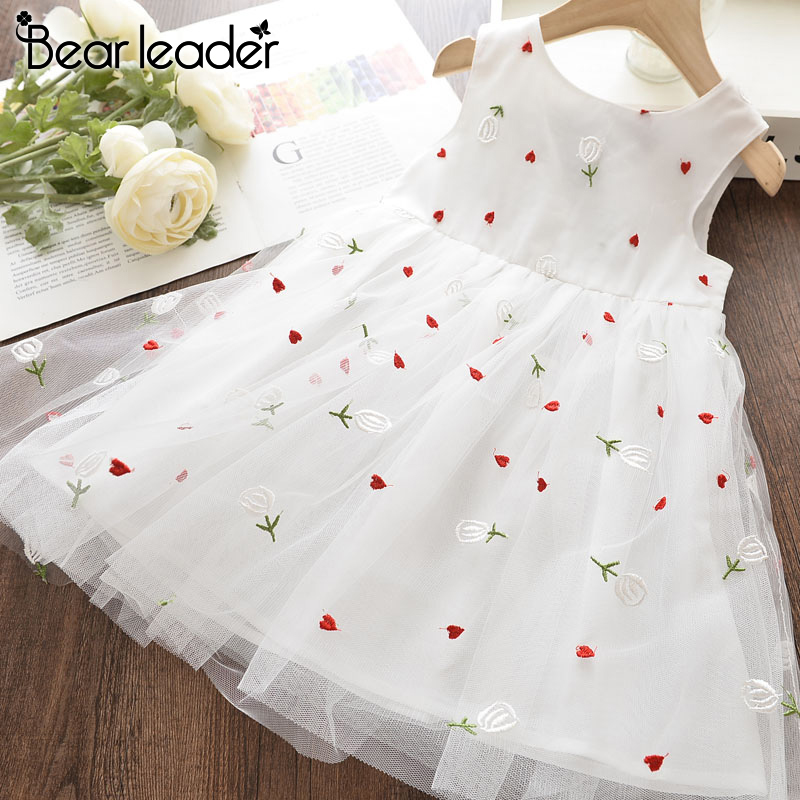 Bear Leader Girl PArty Dress New Summer Kids Floral Dresses Embroidery Princess Dress White Costumes Children's Clothing 3 8Y