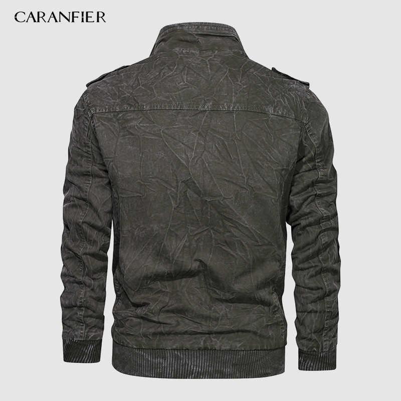 CARANFIER แบรนด์ฤดูหนาวแจ็คเก็ตผู้ชายสบายๆ Retro Coat นักบินนักบินแจ็คเก็ต Air Force Cargo Outwear เสื้อแฟชั่นเสื้อผ้า US ขนาด