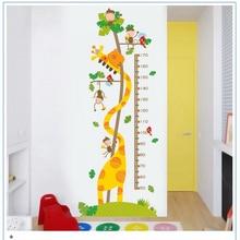 Animais dos desenhos animados altura medida adesivo de parede crianças quarto pvc decoração decalques de parede gráfico crescimento adesivo de parede