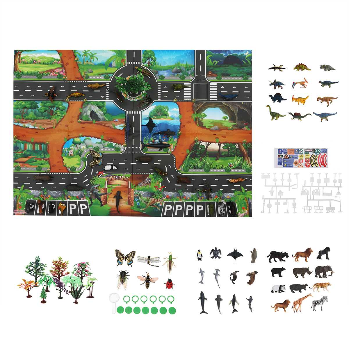 Indoor Crawling Mat Dinosaur City Road Parking Play Mat Game Pad Floor Activity Interactive Toys Educational Toys For Children