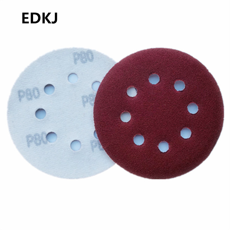 10pcs 5 Inch 125mm Round Sandpaper Eight Hole Disk Sand Sheets Grit 60-3000 Hook And Loop Sanding Disc Polish