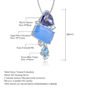 Image 5 - GEMS BALLET Natural Aqua blue Calcedony Gemstone Fine Jewelry 925 Sterling Silver Handmade Candy Pendant Necklace For Women