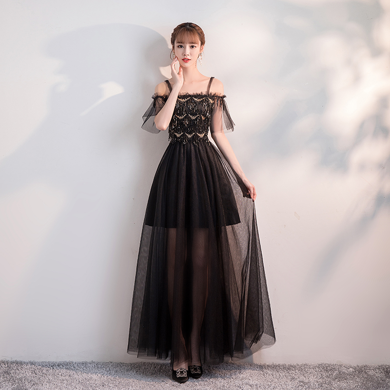 Sequin   Dress   for Weding Party Junior   Bridesmaid     Dresses   Boat Neck Floor-Length Long Floor Length Black Sexy Prom   Dress   Simple
