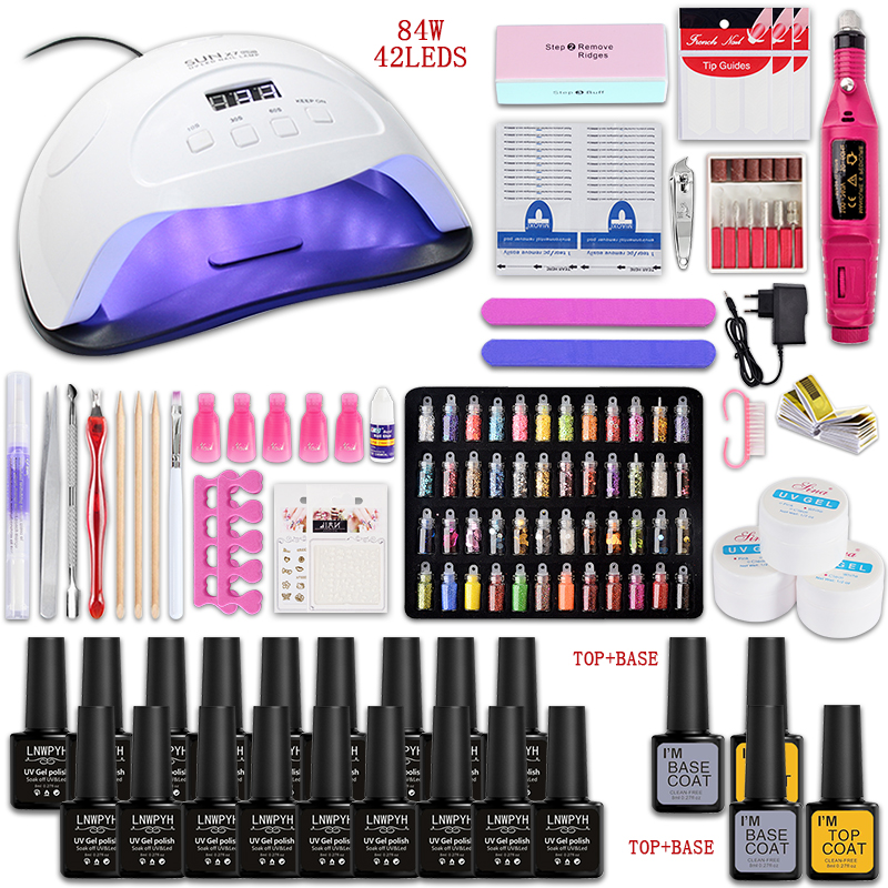 Nail Set And Nail Lamp Choose 18/12/10 Color Gel Nail Polish Kit Electric Nail Drill Machine Manicure Set Nails Art Decorations