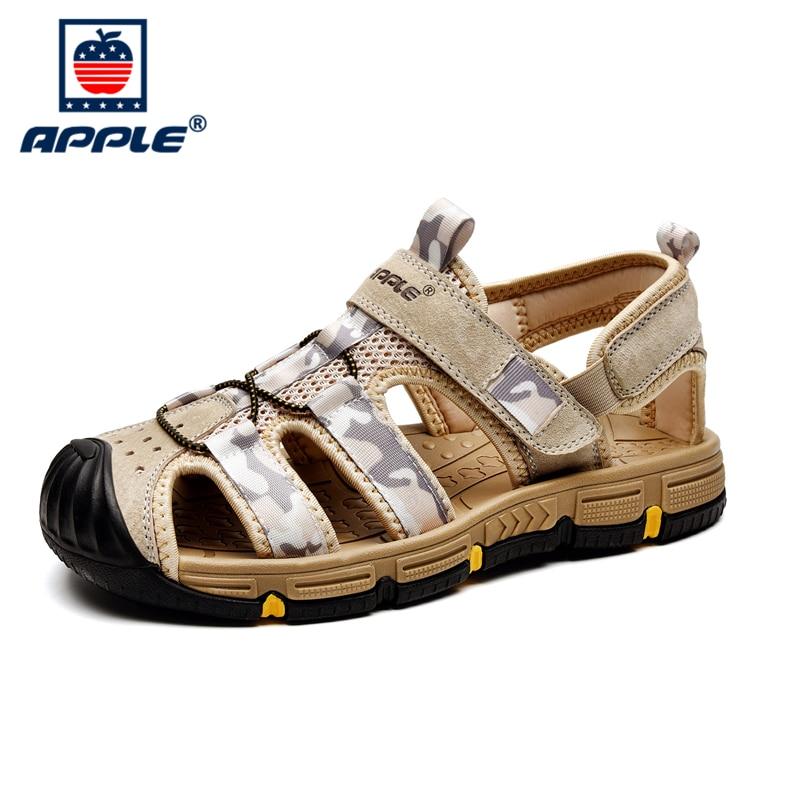 Купить apple 2020 высококачественные кожаные мягкие мужские сандалии