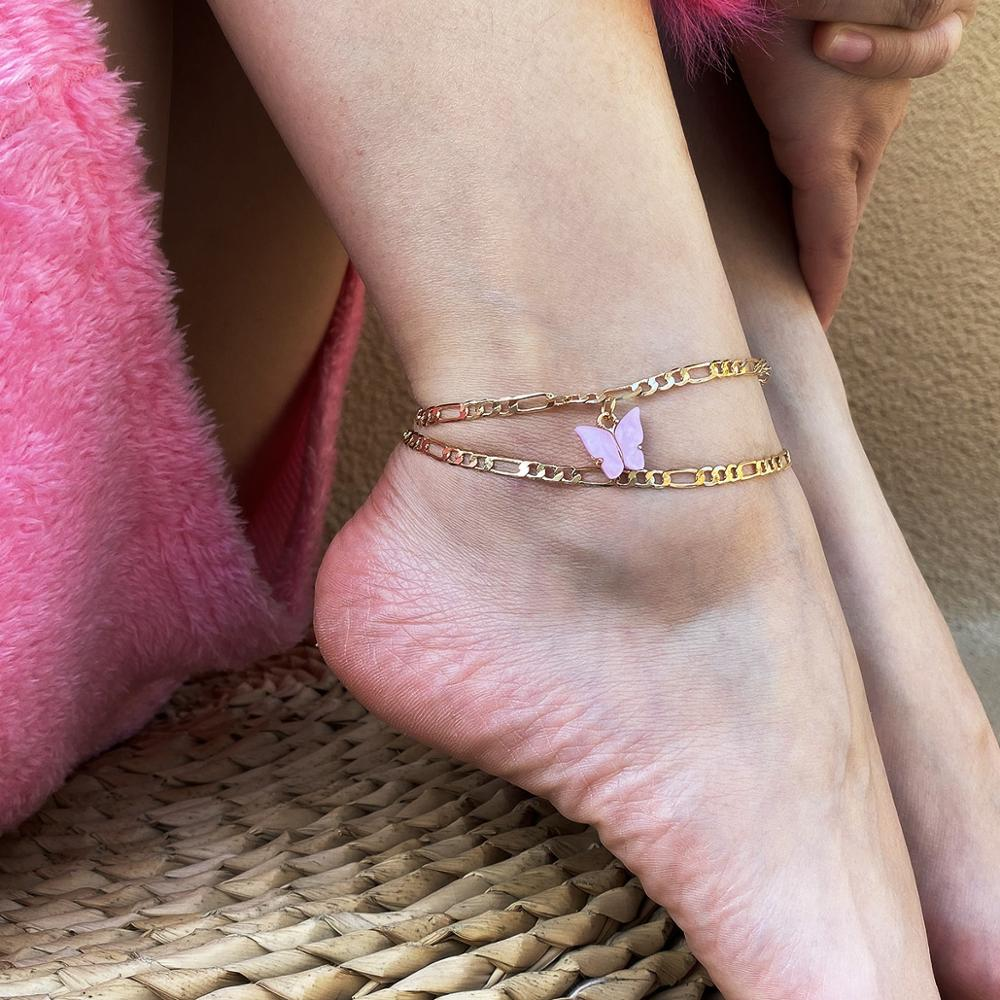 Fashion Cute Butterfly Anklets for Women Gold Silver Color Chain Ankle Bracelet on The Leg 2020 Bohemian Foot Jewelry