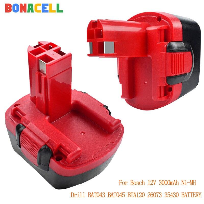 Bonacell 12V 3000mAh Ni-MH Battery for Bosch Drill GSR 12 VE-2,GSB VE-2,PSB VE-2, BAT043 BAT045 BTA120 26073 35430