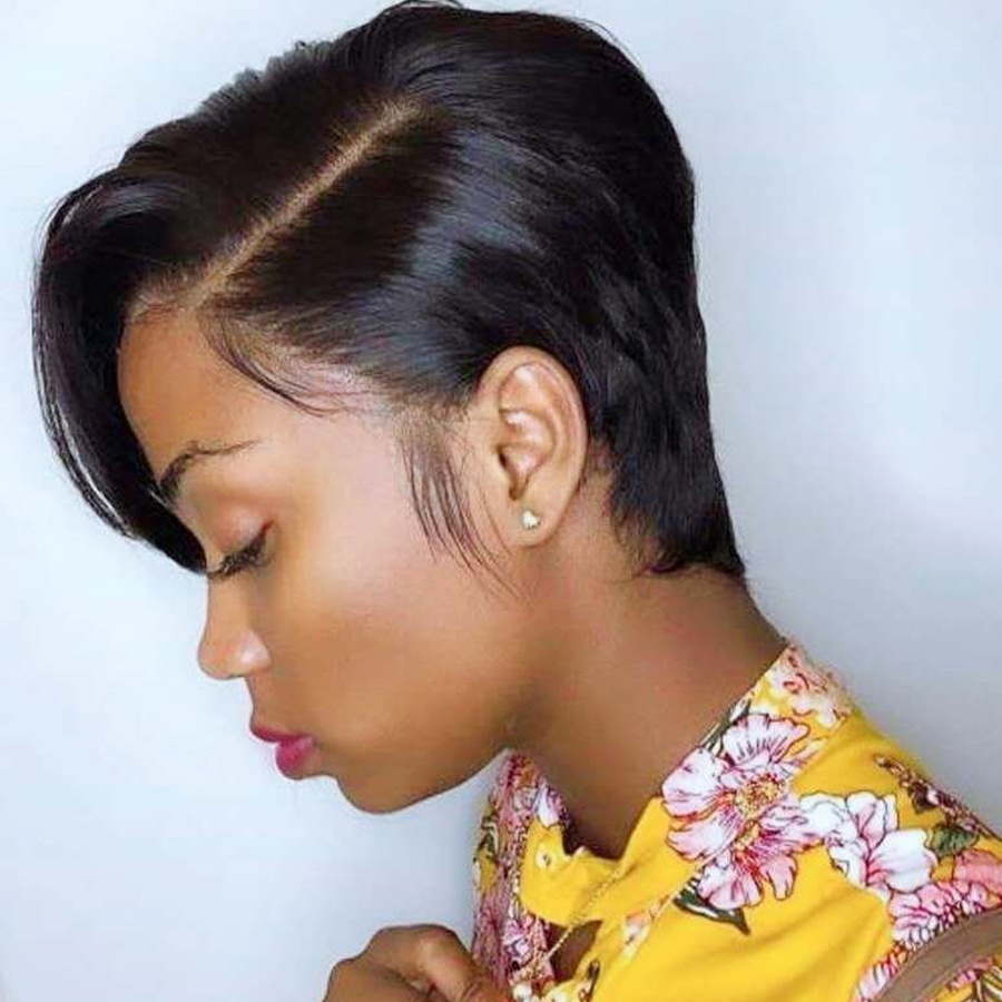 Short Lace Wigs Pixie Cut Wig Straight Human Hair Wigs Deep L Part Peruvian Lace Hair Wig  Human Hair For Women Dorisy Remy