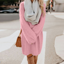 LISALA fashion autumn winter Dress plus size clothing women Warm long sleeve Plush Dresses 3XL