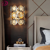 Youlaike New Modern Bedside Wall Sconce Luxury Gold Crystal Wall Light Fixtures Bedside Living Room LED Wall Lamps Bedroom
