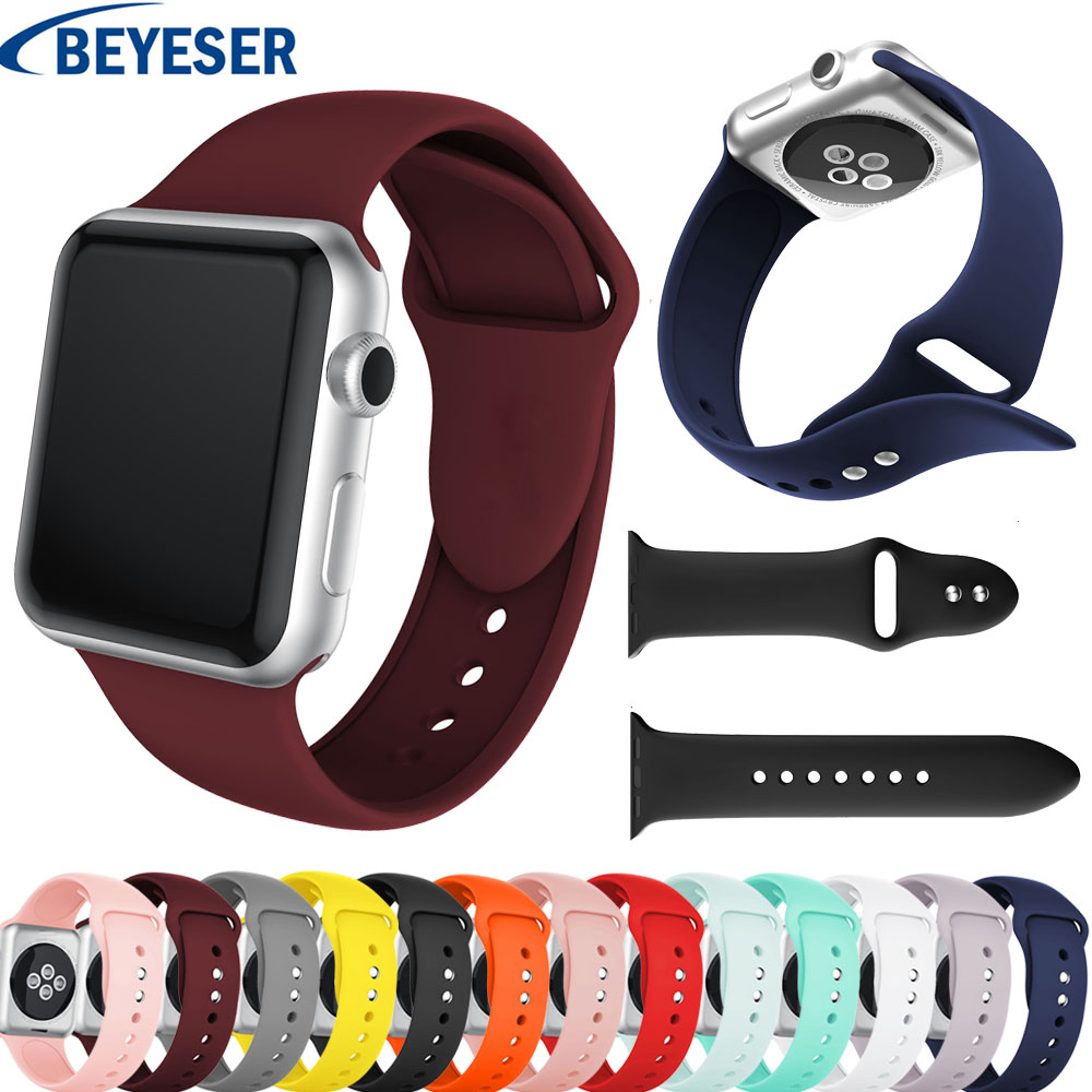 Silicone Sport Strap For Apple Watch Band 5 38mm 42mm IWatch 4 Band 44mm 40mm Belt Bracelet Correa Apple Watch 5 4 3 2 1 Accessories