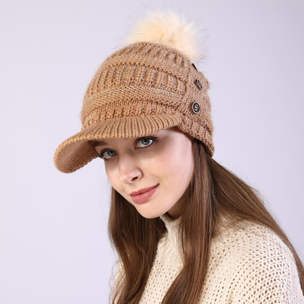 2022 winter Women Bonnet Soft Thick Fleece Lined Dual Layer Knitted Beanie With Faux Fur Pom Pom Hats Fashion Wild Outdoor Sport