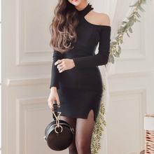 Весенние женские оболочка Платье черного цвета модные однотонные