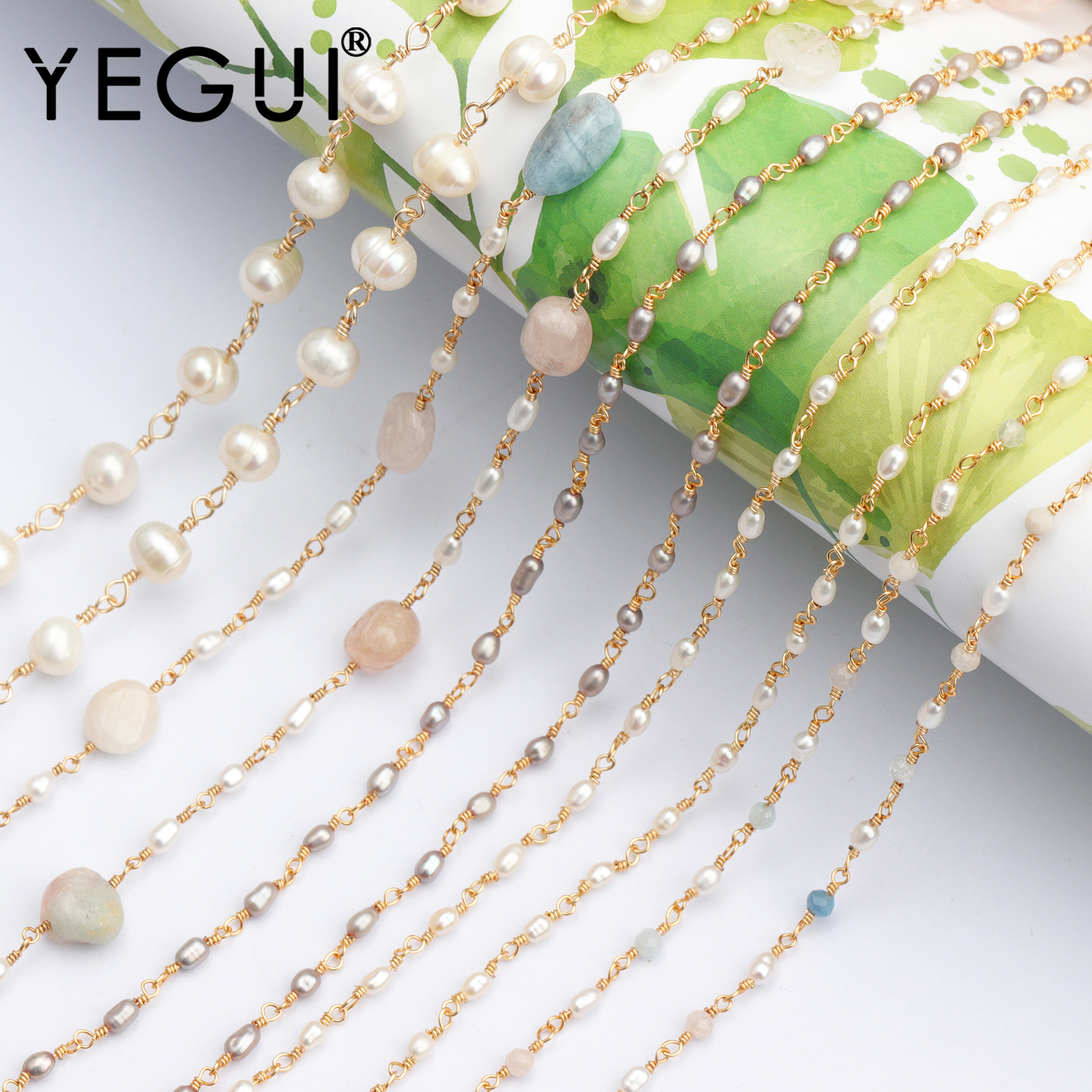 YEGUI C71,jewelry Accessories,diy Chain,18k Gold Plated,natural Stone Pearl,beads,diy Chain Necklace,jewelry Making,1m/lot