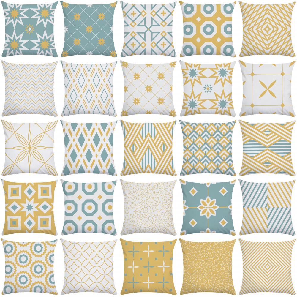 Cushion Cover Yellow Blue Geometry Striped Curve Pillowcase Soft Pillow Case Short Plush Pillow Cover Hotel Garden Throw Pillows