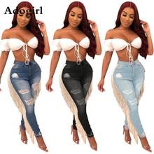 Adogirl Người Phụ Nữ Cao Cấp Rách Lỗ Ra Tua Rua Bút Chì Quần Lửng Jeans Nữ Khóa Dây Kéo Đường Quần Lót Hipsters Trang Phục Rỗng Ra Quần Skinny