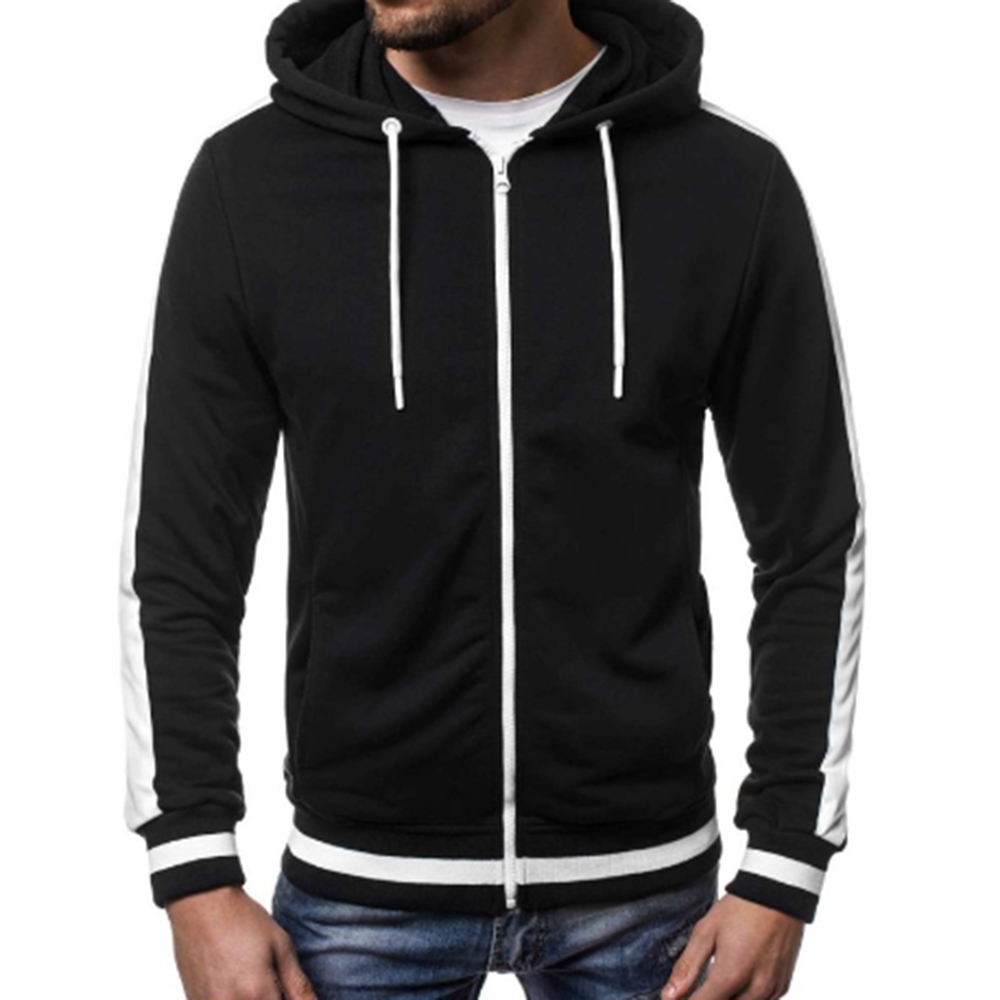LITTHING 2019 Autumn Winter Fashion Striped Hoodies Patchwork Zipper Sweatshirt Solid Causal Hooded Sweatshirt Long Sleeve Coats