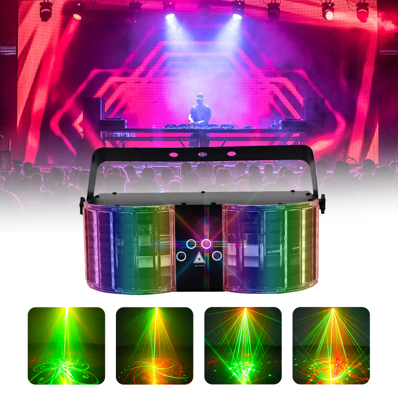 WUZSTAR  LED Laser Disco Light DMX Controller DJ Party Lights Double-Mirror 4-Hole Laser Butterfly Lighting For Stage Decoration