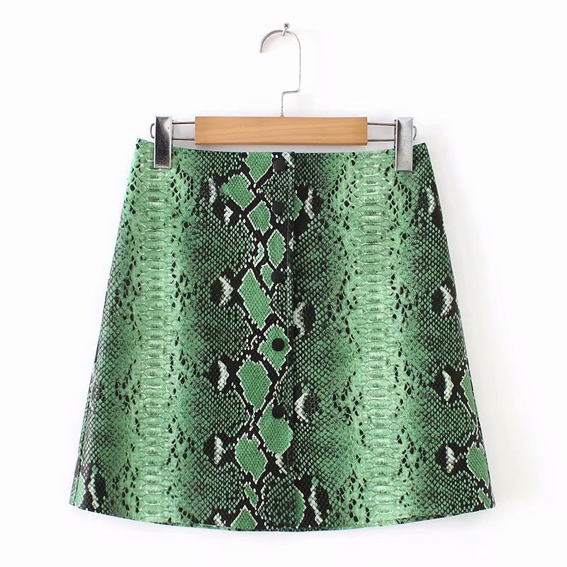 Women Skirts Pu Faux Leather Green Snake Print Skirts Button Pencil Female Mini Skirt Plus Size Jupe Femme Faldas Mujer