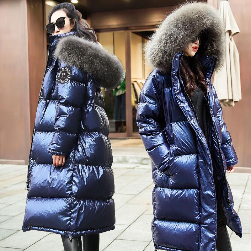 2019 mode femmes hiver doudoune Chic grande fourrure chaud Ultra léger Long manteau femme Parka à capuche femme brillant vestes surdimensionné