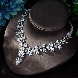 Image 5 - HIBRIDE סופר יוקרה עלה עלים מלא AAA מעוקב Zirconia נשים חתונה שמלת שרשרת עגיל תכשיטי סטי Bijoux Femme N 1143