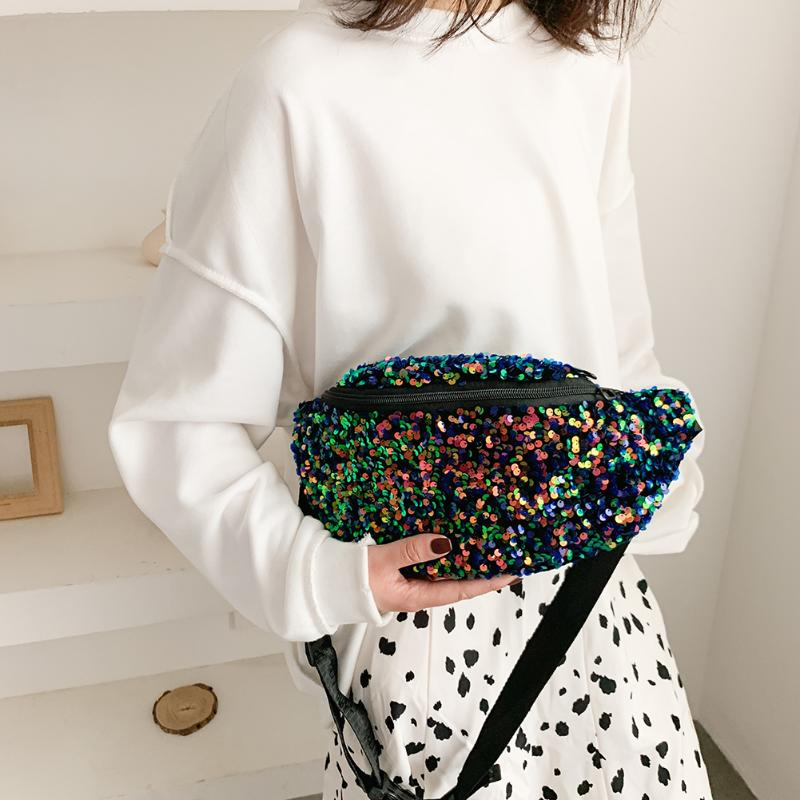 Fashion Sequin Women Fanny Bag Tidy Simple And Generous In Appearance Zipper Purse Casual Shoulder Crossbody Pack
