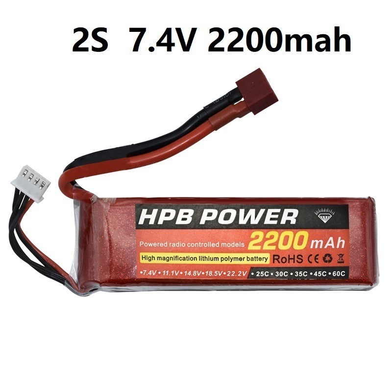 HPB 2s 2200mAh 7.4v Rechargeable Bettary for Rc Helicopter Car boat Airplane 2s battery RC toys Robots 7.4v Li Polymer battery Replacement Batteries     - title=