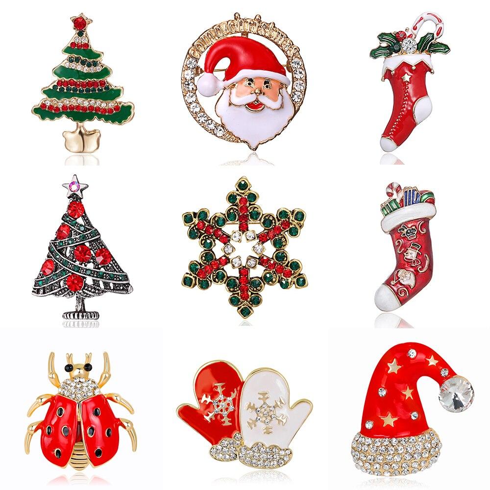 Классическая модная Рождественская брошь в виде Санта-Клауса, снежинки, дерева, шляпы, перчаток, булавки, значки, аксессуары для одежды, детс...