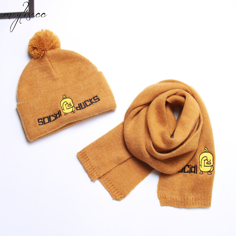2019 New 4-8 Years Old Children's Little Yellow Duck Knitted Hat Scarf Set Autumn And Winter Warm Boysand Girls Baby Hat Scarf