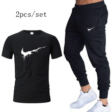 Jogging Suits Brand Men Sets 2019 autumn Running Sport t shirt+Pants Gym Fitness Training Breathable Tracksuit