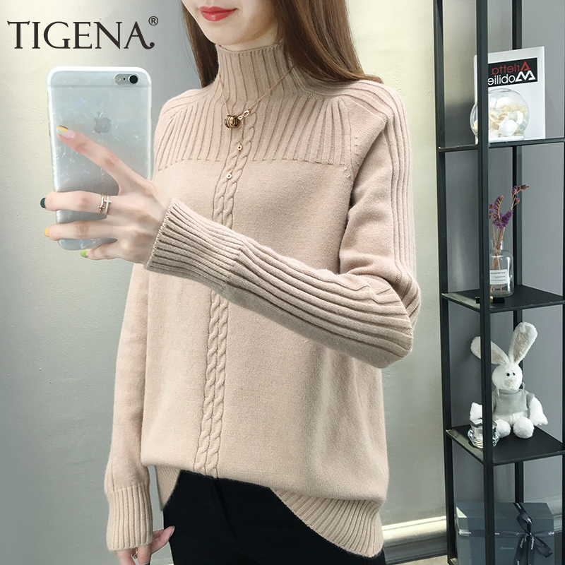 TIGENA Newest Turtleneck Sweater Women 2019 Fall Winter Long Sleeve Knitted Pullover Sweater Female Korean Loose Jumper Women