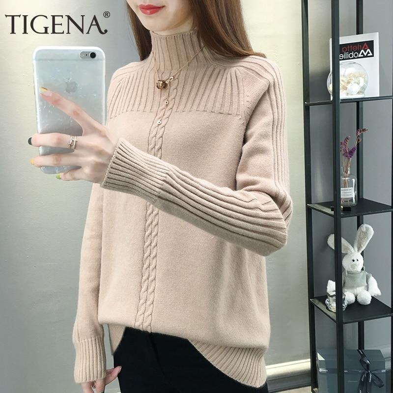 TIGENA Newest Turtleneck Sweater Women 2019 Fall Winter Long Sleeve Knitted Pullover Sweater Female Korean Loose Jumper Women