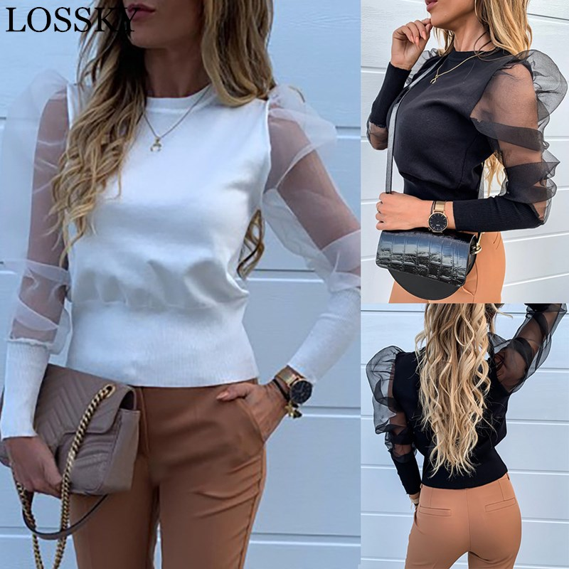 Women's Mesh Patchwork See-through Blouse Long Puff Sleeve O Neck White Black Shirts Chic Tops Sexy Vintage Short Shirt Blusa
