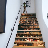 HLZS 13Pcs 3D Bookcase Staircase Sticker Diy Sticker Wall Decal Wallpaper Wallpaper Detachable Decor Home Decor