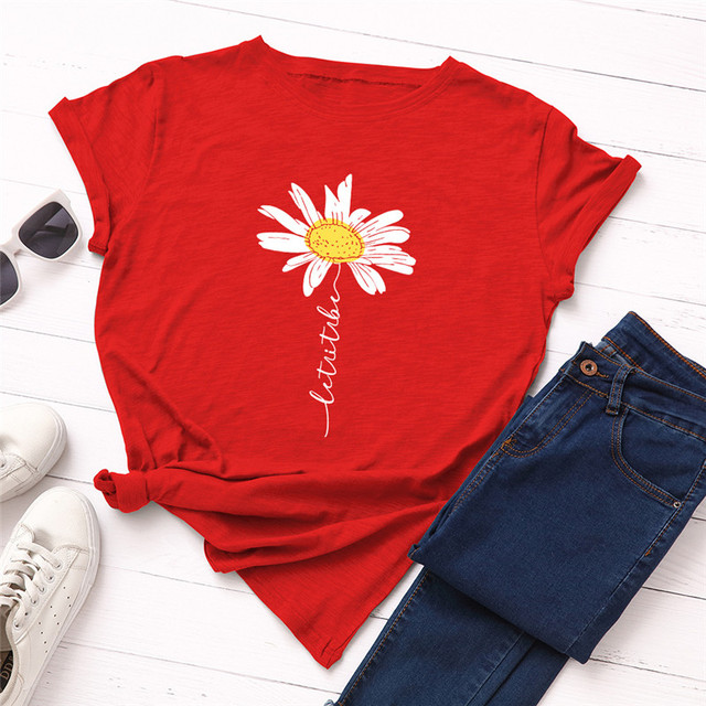 XVSSAA Womens Casual Fashion Round Neck Short-Sleeve Alphanumeric Printing Solid Color Loose Wild T-Shirt