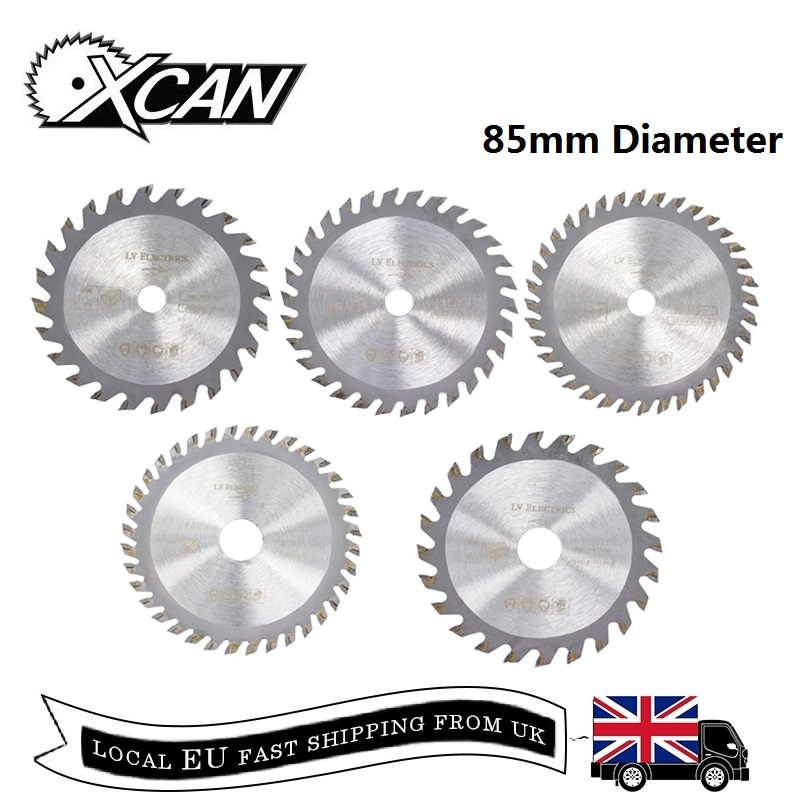 XCAN 5pcs 85mm Diameter 24/30/36Teeth Carbide Circular Saw Blade Mini TCT Cutting Disc Wood Saw Blades