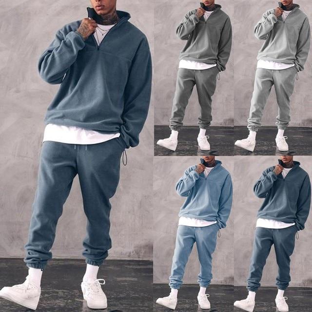 Sweatshirts Set Men Winter Warm Fashion 2021 Men's Jogger Tracksuit Solid Stand Collar Sweatshirt Casual 2 Pieces Sports Suits 2