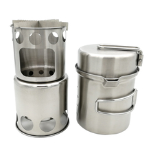 Camping Wood Stove Cooking Pot Set Stainless Steel Tableware Folding Cookware for Backpacking Fishing Pesca Outdoor Picnic