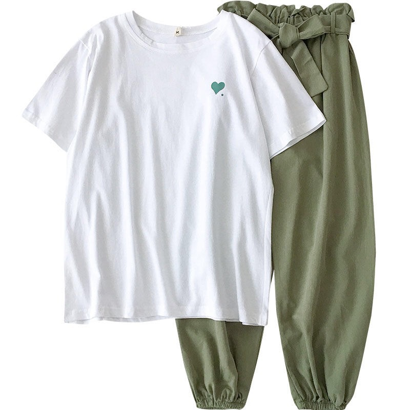 Sports Suits Clothes Tracksuit Korean Casual Summer Two Piece Women For Female Student Girl Plus Size 18-24 Age Short Pullover