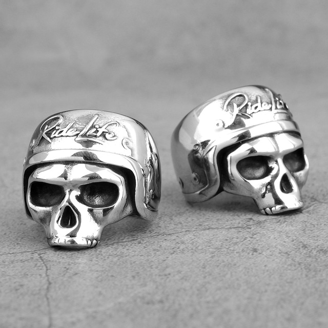 STAINLESS STEEL RIDER LIFE SKULL RINGS