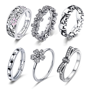 WOSTU Multi-Style Women Ring 100% 925 Sterling Silver Delicate Wedding Rings Crown Heart Bee Original Ring Engagement Jewelry(China)