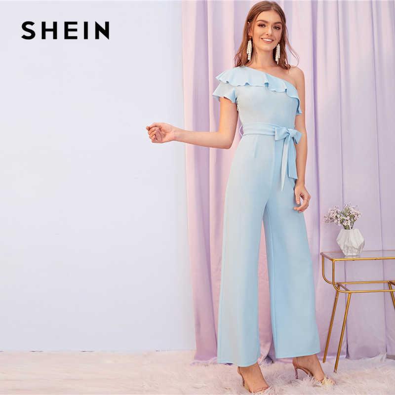 SHEIN синий, однотонный, на одно плечо, с рюшами, складной, вечерние комбинезон с поясом, женские осенние, с капюшоном, с широкими штанинами, элегантные женские комбинезоны