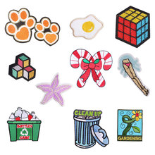 Toy Flower Money Iron on Patches for Clothing DIY Embroidery Stripe Clothes Sequin Hat Fire Applique Skull Badge Cloth Fabric