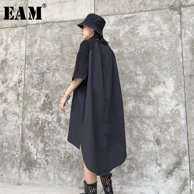 [EAM] Women Back Long Button Split Big Size Dress New Round Neck Short Sleeve Loose Fit Fashion Tide Spring Summer 2020 1T786