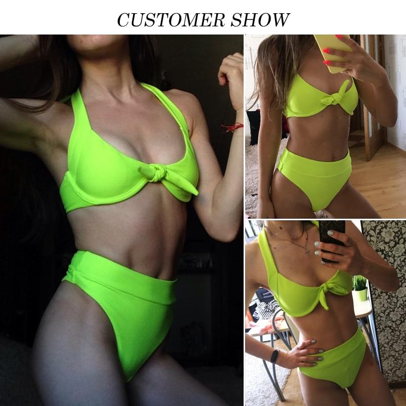 Sexy neon green brazilian bikini thong bathing suit Push up swimwear women 2019 new High cut high waist swimsuit female bathers