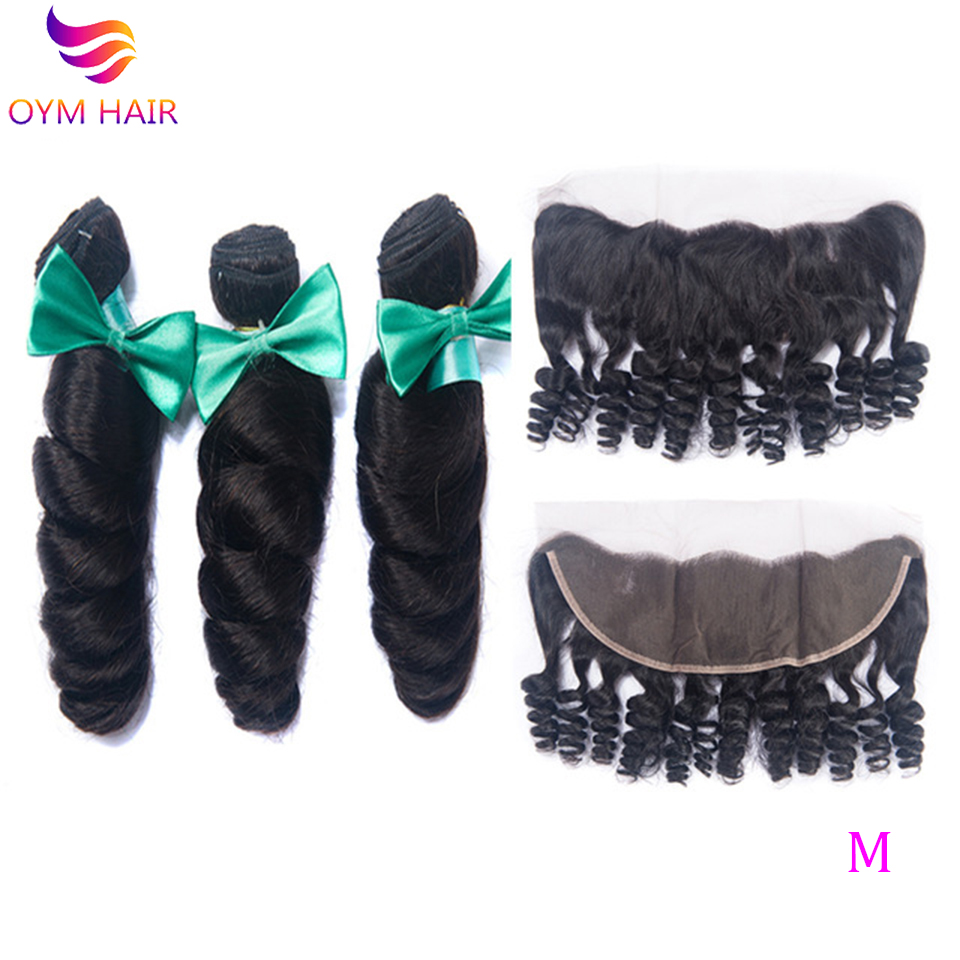 OYM HAIR Brazilian Human Hair Weave Bundles With Frontal Closure Loose Wave Bundles With Closure Non-Remy Hair Extension
